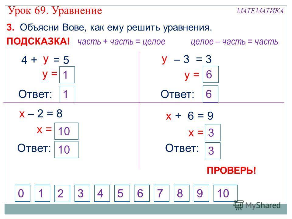 Ответ: + 6 = 9 х х = – 2 = 8 х = Ответ: х – 3 = 3 у у = Ответ: у = 4 + = 5 у Ответ: 1 3. Объясни Вове, как ему решить уравнения. 1 3 10 часть + часть = целое 3 10 целое – часть = часть ПОДСКАЗКА! 6 6 1 2 4573698100 1 2 4573698 0 ПРОВЕРЬ! Урок 69. Ура