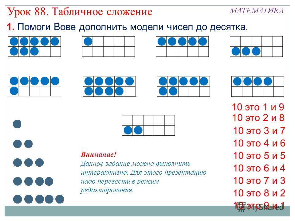 10 это 8 и 2 10 это 1 и 9 10 это 5 и 5 10 это 3 и 7 10 это 6 и 4 10 это 9 и 1 10 это 7 и 3 10 это 4 и 6 10 это 2 и 8 1. Помоги Вове дополнить модели чисел до десятка. Внимание! Данное задание можно выполнить интерактивно. Для этого презентацию надо п