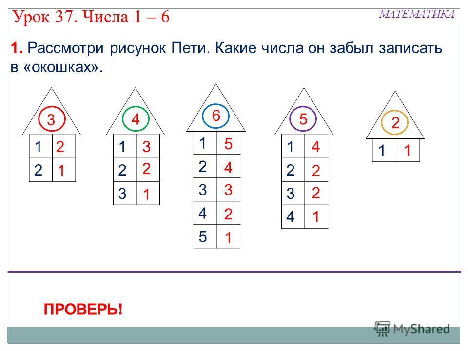 1 1 2 3 4 1 2 3 1 2 2 1 3 2 1 4 1 2 2 1 1 2 3 4 5 4 1 2 3 5 1. Рассмотри рисунок Пети. Какие числа он забыл записать в «окошках». 6 3 45 2 ПРОВЕРЬ! Урок 37. Числа 1 – 6 МАТЕМАТИКА