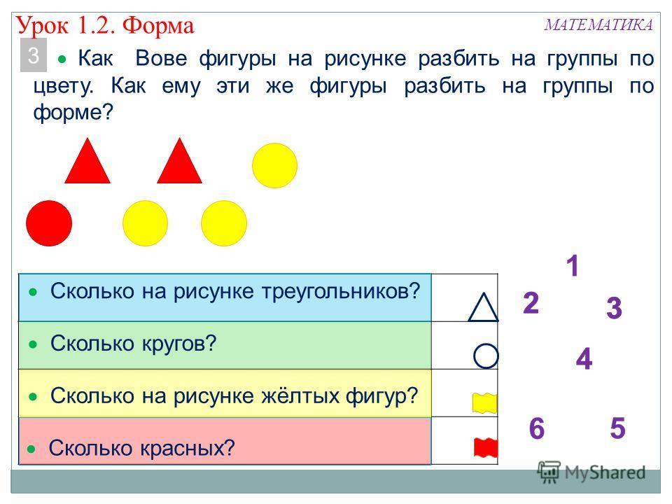 3 Как Вове фигуры на рисунке разбить на группы по цвету. Как ему эти же фигуры разбить на группы по форме? МАТЕМАТИКА Сколько на рисунке треугольников? Сколько кругов? Сколько на рисунке жёлтых фигур? Сколько красных? 3 Урок 1.2. Форма
