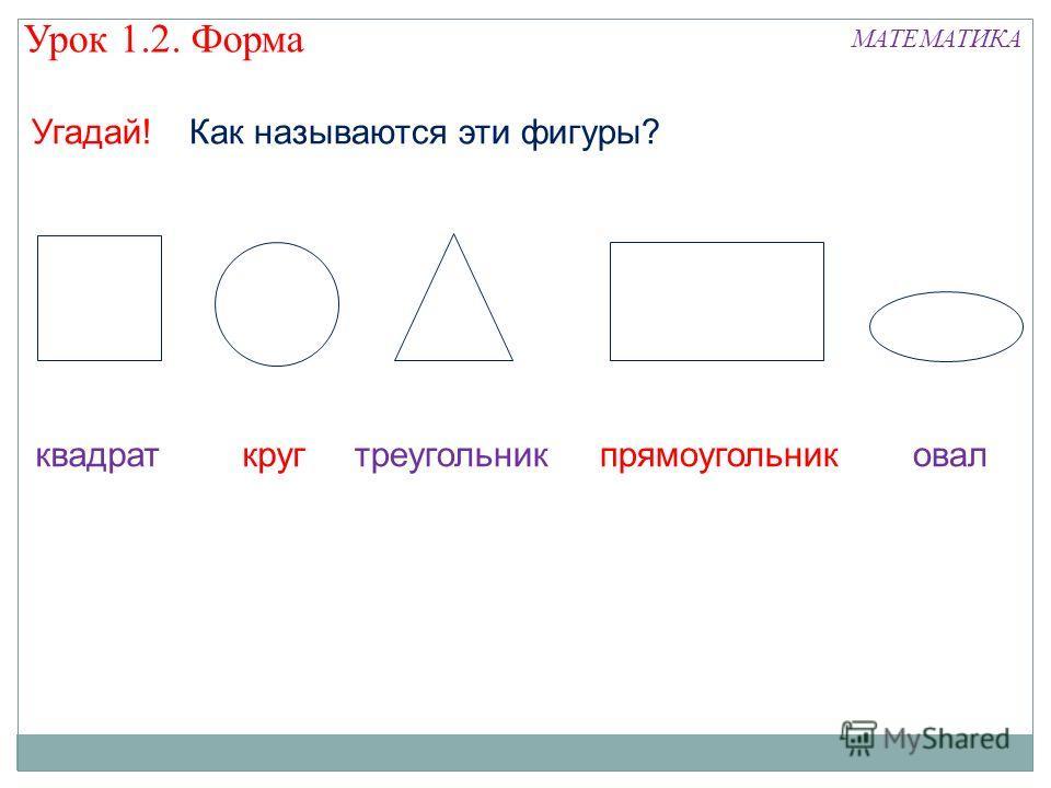 Урок 1.2. Форма МАТЕМАТИКА Угадай! квадраткругтреугольникпрямоугольниковал Как называются эти фигуры?