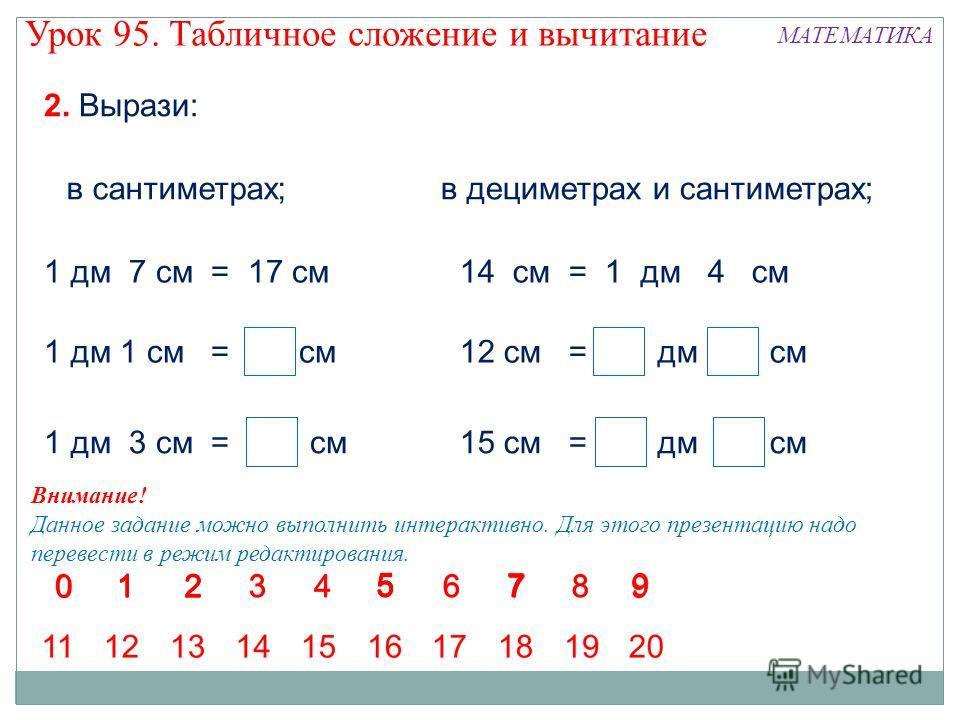 2. Вырази: в сантиметрах;в дециметрах и сантиметрах; Внимание! Данное задание можно выполнить интерактивно. Для этого презентацию надо перевести в режим редактирования. Урок 95. Табличное сложение и вычитание МАТЕМАТИКА 1 дм 7 см = 17 см14 см = 1 дм