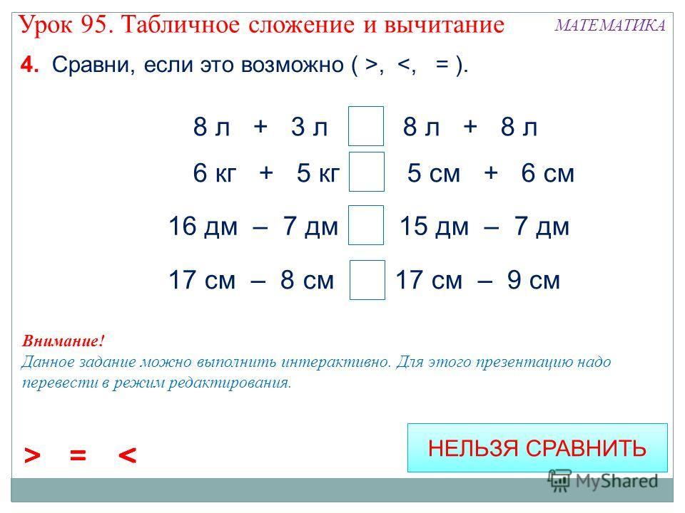 4. Сравни, если это возможно ( >,  < = > < = 6 кг + 5 кг > 5 см + 6 см 16 дм – 7 дм > 15 дм – 7 дм 17 см – 8 см > 17 cм – 9 см НЕЛЬЗЯ СРАВНИТЬ Внимание! Данное задание можно выполнить интерактивно. Для этого презентацию надо перевести в режим редакти