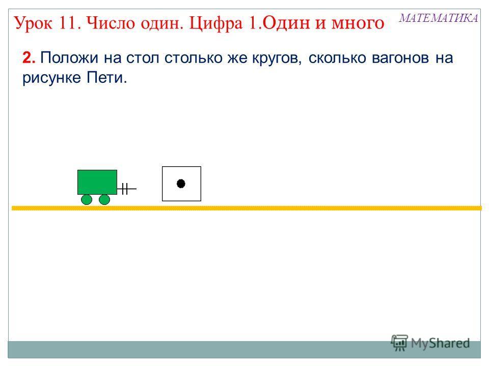 2. Положи на стол столько же кругов, сколько вагонов на рисунке Пети. МАТЕМАТИКА Урок 11. Число один. Цифра 1. Один и много