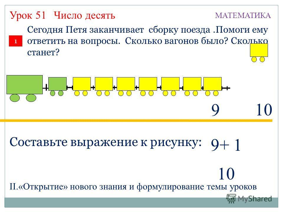 1 Сегодня Петя заканчивает сборку поезда.Помоги ему ответить на вопросы. Сколько вагонов было? Сколько станет? Урок 51 10 Составьте выражение к рисунку: 9 9+ 1 10 Число десять МАТЕМАТИКА II.«Открытие» нового знания и формулирование темы уроков