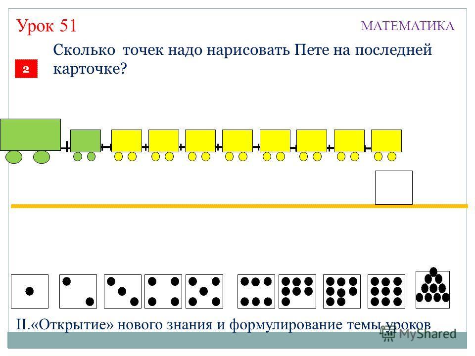 2 Сколько точек надо нарисовать Пете на последней карточке? 9 МАТЕМАТИКА Урок 51 II.«Открытие» нового знания и формулирование темы уроков
