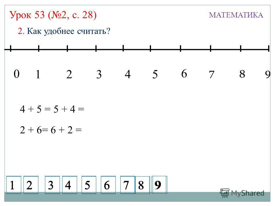 Урок 53 (2, с. 28) МАТЕМАТИКА 2. Как удобнее считать? 13245 7 6 8 9 0 4 + 5 = 5 + 4 = 99 2 + 6= 6 + 2 = 99 1234567 1234567 1234567 1234567 8 9 8 9