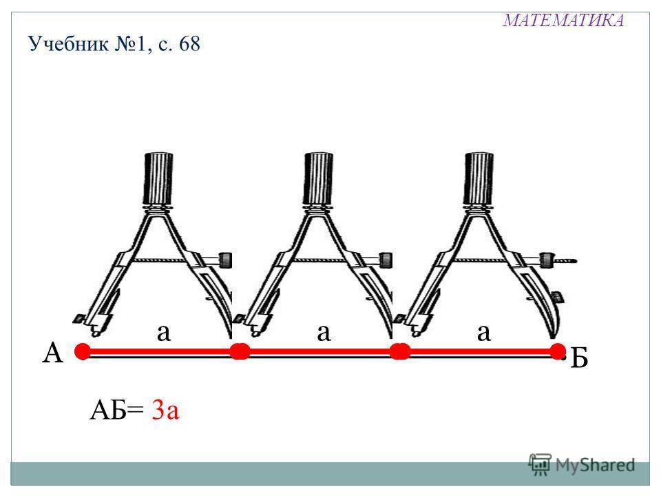 МАТЕМАТИКА Учебник 1, с. 68 А Б ааа АБ= 3а