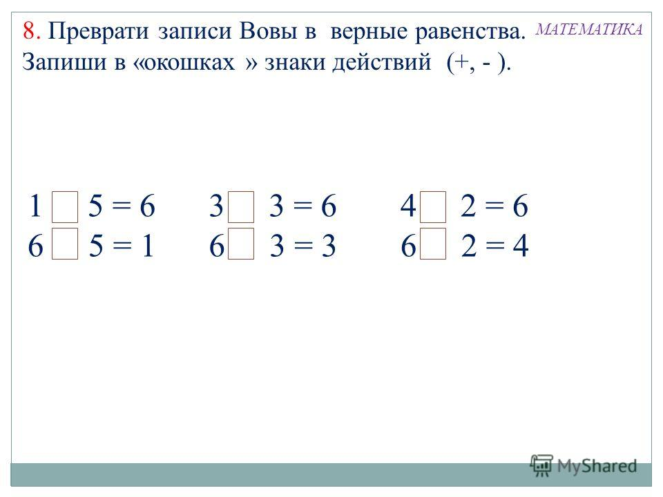 1+ 5 = 6 6 - 5 = 1 3 + 3 = 6 6 - 3 = 3 4 + 2 = 6 6 - 2 = 4 8. Преврати записи Вовы в верные равенства. Запиши в «окошках » знаки действий (+, - ). МАТЕМАТИКА
