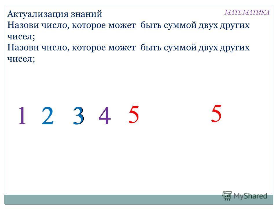 Актуализация знаний Назови число, которое может быть суммой двух других чисел; 1 2 3 4413 5 5 23 МАТЕМАТИКА