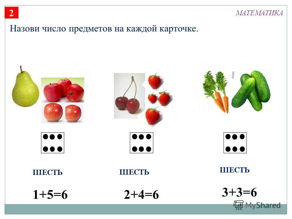 2 Назови число предметов на каждой карточке. ШЕСТЬ 1+5=62+4=6 3+3=6 МАТЕМАТИКА