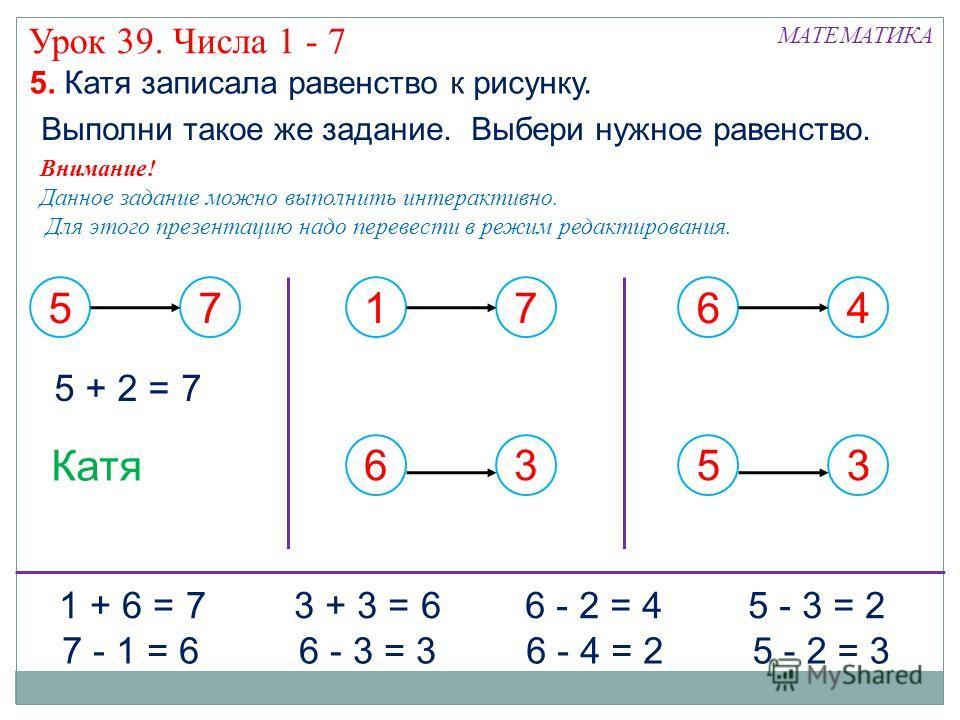 57 17636453 Катя 5. Катя записала равенство к рисунку. 5 + 2 = 7 1 + 6 = 7 6 - 3 = 3 6 - 2 = 4 5 - 2 = 37 - 1 = 6 3 + 3 = 6 6 - 4 = 2 5 - 3 = 2 Выполни такое же задание. Выбери нужное равенство. Внимание! Данное задание можно выполнить интерактивно.