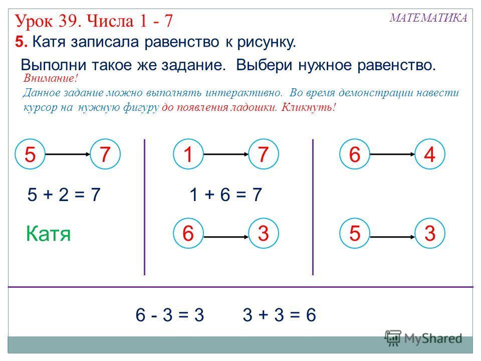 57 17636453 Катя 5. Катя записала равенство к рисунку. Внимание! Данное задание можно выполнять интерактивно. Во время демонстрации навести курсор на нужную фигуру до появления ладошки. Кликнуть! 5 + 2 = 7 Выполни такое же задание. Выбери нужное раве