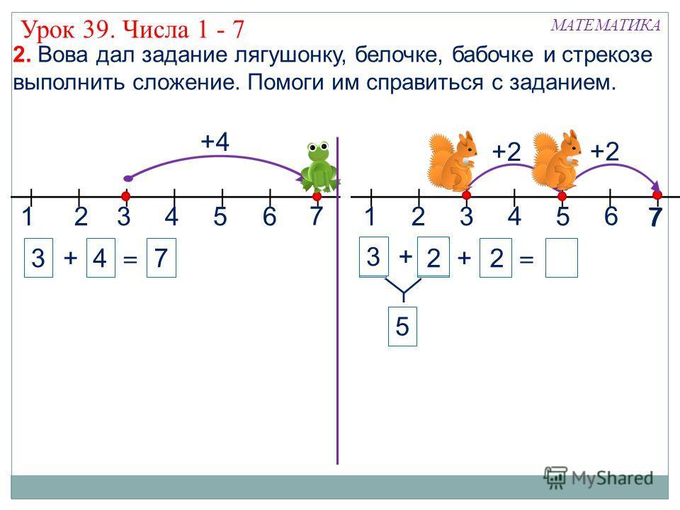 7 33 1324 МАТЕМАТИКА 56132 4 5 7 2. Вова дал задание лягушонку, белочке, бабочке и стрекозе выполнить сложение. Помоги им справиться с заданием. +4 3 + = +2 4 7 7 6 + = +2 5 3 + 2 Урок 39. Числа 1 - 7