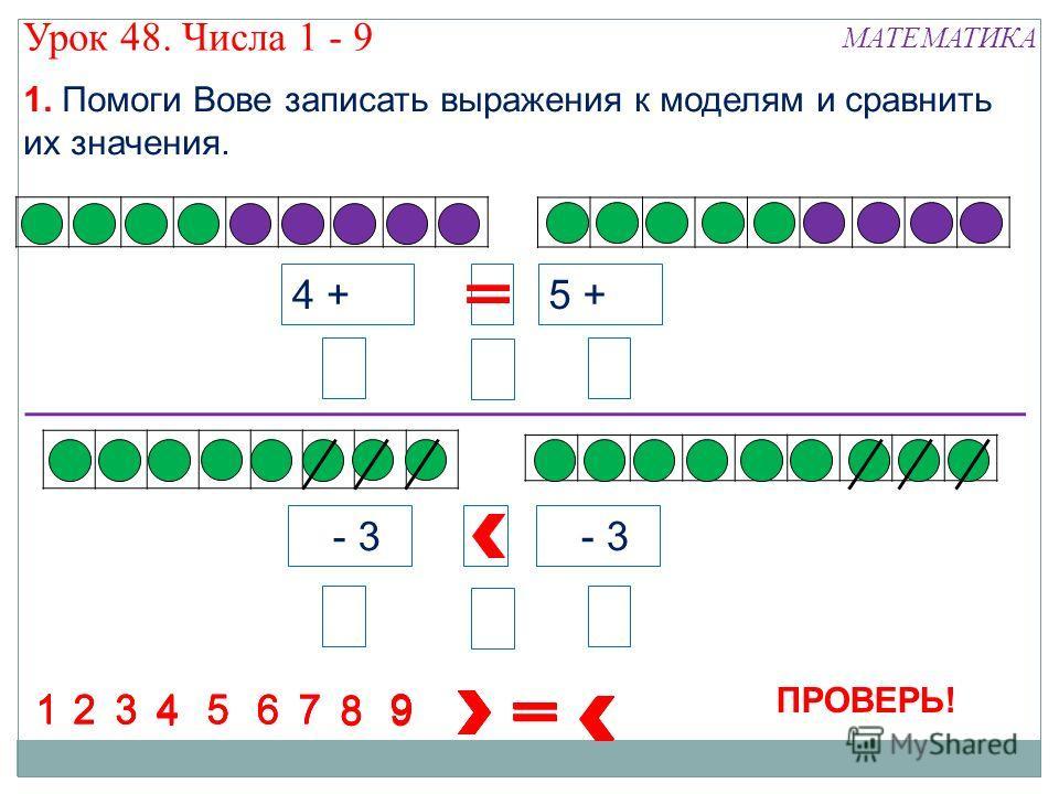 7 - 3 4 + 5 5 + 4 8 8 88 8 8 88 1234 5 67 1234567 1234567 1234567 8 9 9 9 9 8 9 894 7 - 3 9 Урок 48. Числа 1 - 9 МАТЕМАТИКА 1. Помоги Вове записать выражения к моделям и сравнить их значения. ПРОВЕРЬ!