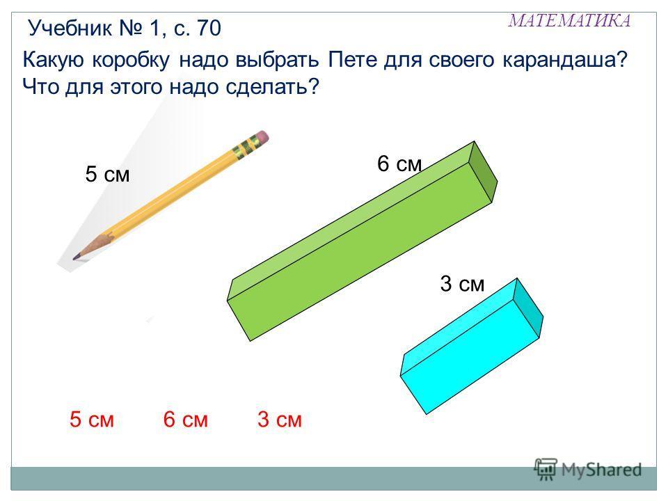 МАТЕМАТИКА Какую коробку надо выбрать Пете для своего карандаша? Что для этого надо сделать? Учебник 1, с. 70 6 см 5 см 3 см 5 см3 см6 см