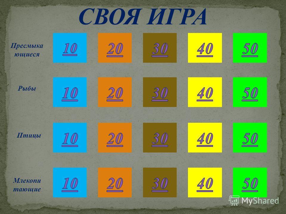 50 СВОЯ ИГРА Пресмыка ющиеся Рыбы Птицы Млекопи тающие