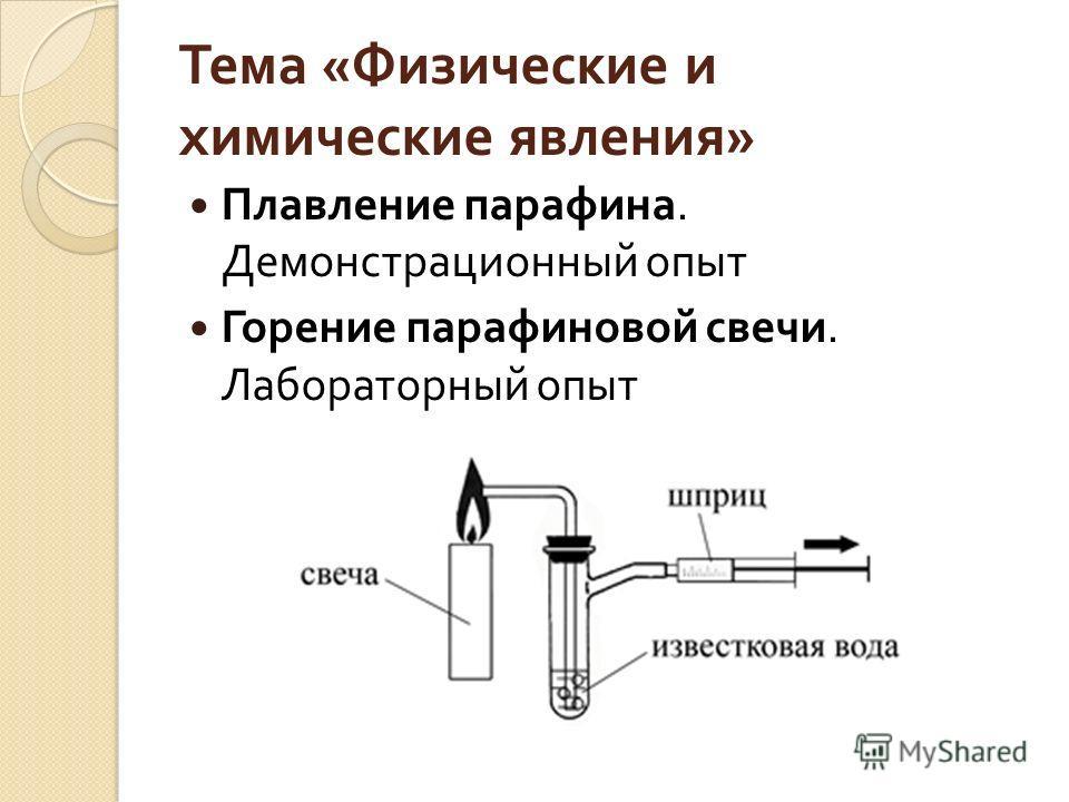 Тема « Физические и химические явления » Плавление парафина. Демонстрационный опыт Горение парафиновой свечи. Лабораторный опыт