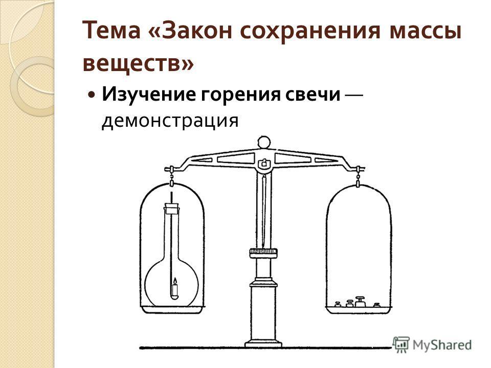 Тема « Закон сохранения массы веществ » Изучение горения свечи демонстрация