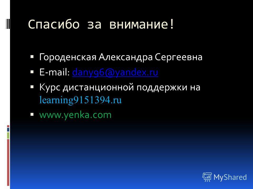 Спасибо за внимание! Городенская Александра Сергеевна E-mail: dany96@yandex.rudany96@yandex.ru Курс дистанционной поддержки на learning9151394.ru www.yenka.com