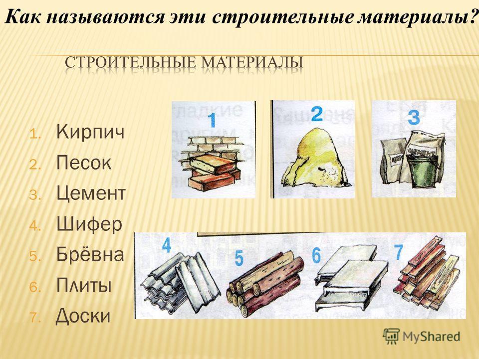1. Кирпич 2. Песок 3. Цемент 4. Шифер 5. Брёвна 6. Плиты 7. Доски Как называются эти строительные материалы?