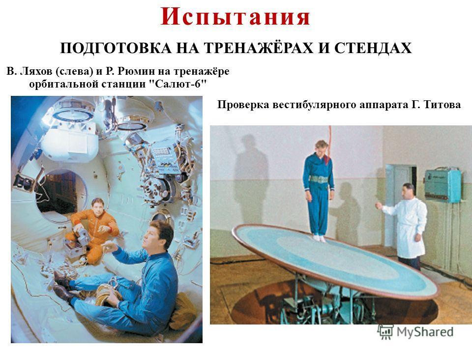 ПОДГОТОВКА НА ТРЕНАЖЁРАХ И СТЕНДАХ В. Ляхов ( слева ) и Р. Рюмин на тренажёре орбитальной станции  Салют -6 Проверка вестибулярного аппарата Г. Титова Испытания