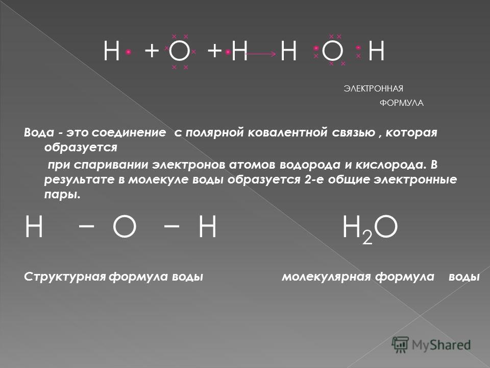 H + O + H H O H ЭЛЕКТРОННАЯ ФОРМУЛА Вода - это соединение с полярной ковалентной связью, которая образуется при спаривании электронов атомов водорода и кислорода. В результате в молекуле воды образуется 2-е общие электронные пары. Н О Н H 2 O Структу