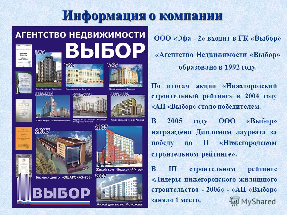 Информация о компании ООО «Эфа - 2» входит в ГК «Выбор» «Агентство Недвижимости «Выбор» образовано в 1992 году. По итогам акции «Нижегородский строительный рейтинг» в 2004 году «АН «Выбор» стало победителем. В 2005 году ООО «Выбор» награждено Дипломо