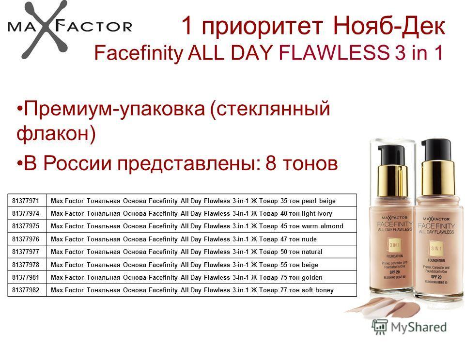 1 приоритет Нояб-Дек Facefinity ALL DAY FLAWLESS 3 in 1 Премиум-упаковка (стеклянный флакон) В России представлены: 8 тонов 81377971Max Factor Тональная Основа Facefinity All Day Flawless 3-in-1 Ж Товар 35 тон pearl beige 81377974Max Factor Тональная