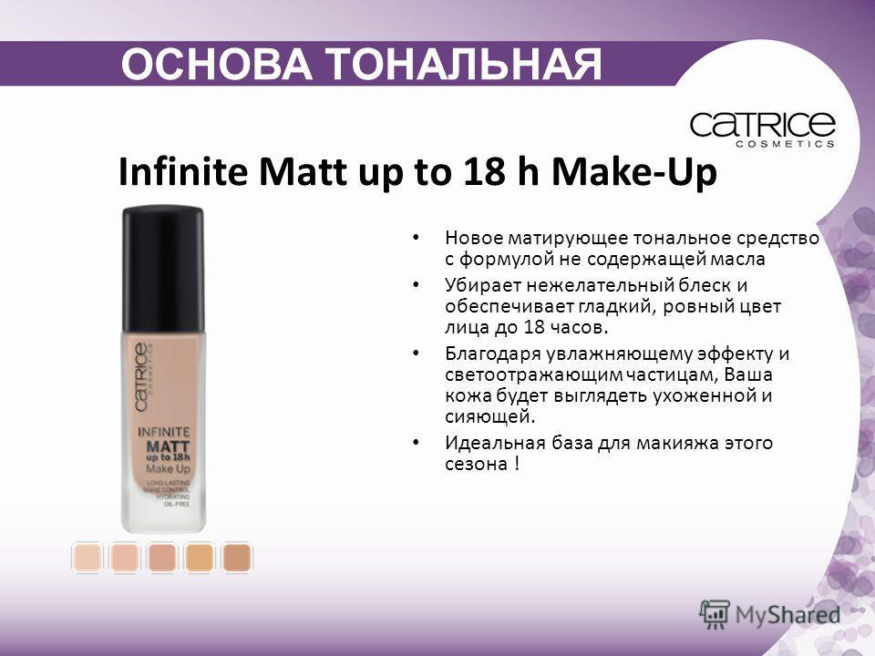 Infinite Matt up to 18 h Make-Up Новое матирующее тональное средство с формулой не содержащей масла Убирает нежелательный блеск и обеспечивает гладкий, ровный цвет лица до 18 часов. Благодаря увлажняющему эффекту и светоотражающим частицам, Ваша кожа