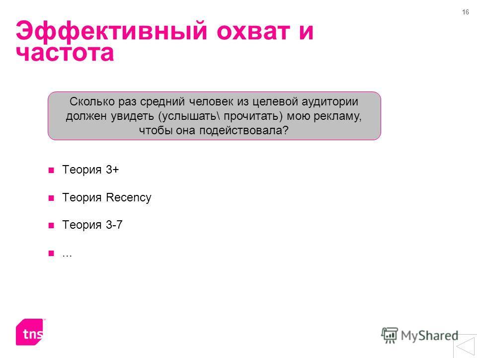 16 Эффективный охват и частота Теория 3+ Теория Recency Теория 3-7... Сколько раз средний человек из целевой аудитории должен увидеть (услышать\ прочитать) мою рекламу, чтобы она подействовала?