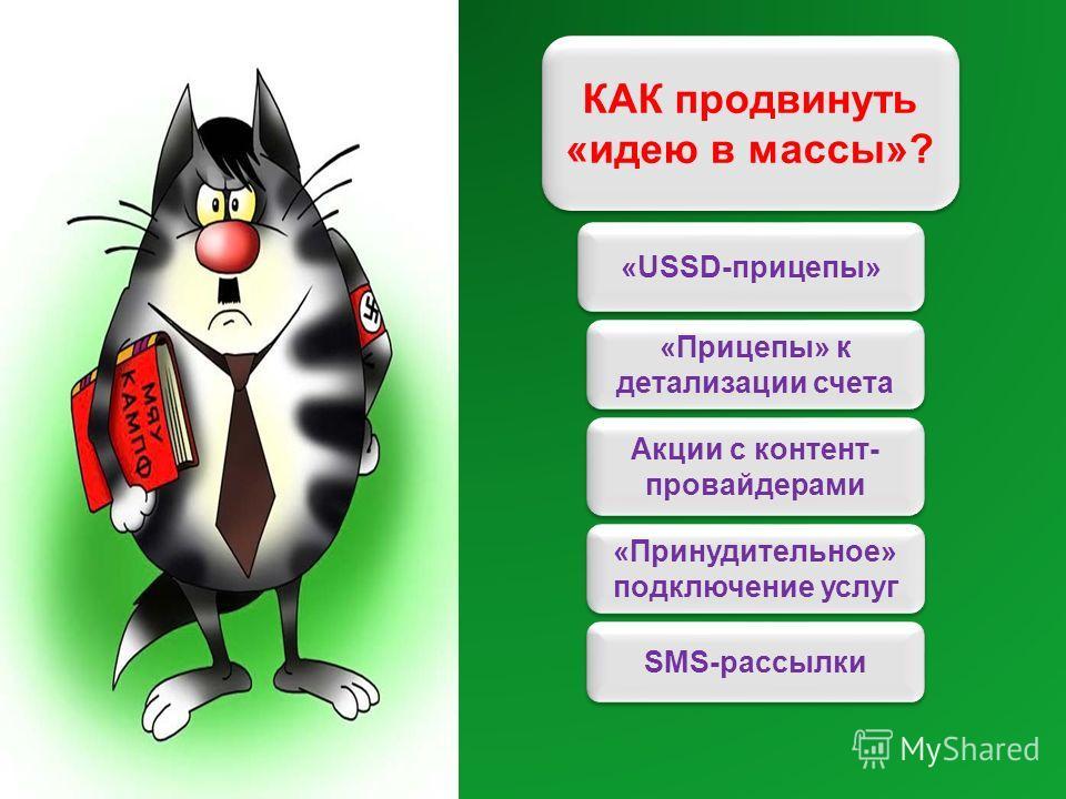 КАК продвинуть «идею в массы»? «Прицепы» к детализации счета «USSD-прицепы» Акции с контент- провайдерами «Принудительное» подключение услуг SMS-рассылки