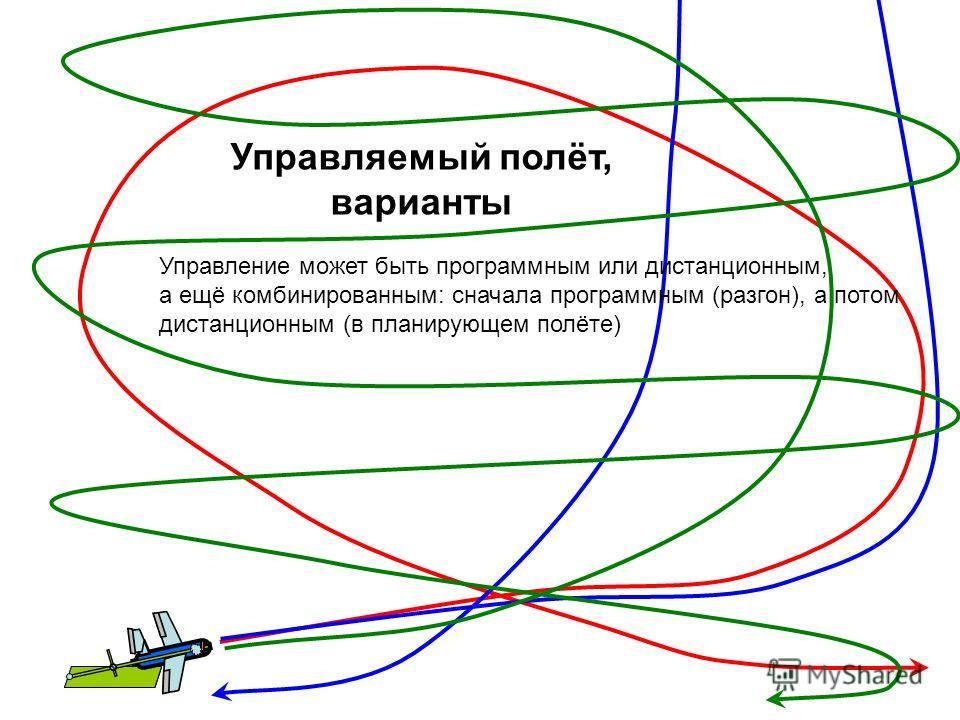 Управляемый полёт, варианты Управление может быть программным или дистанционным, а ещё комбинированным: сначала программным (разгон), а потом дистанционным (в планирующем полёте)