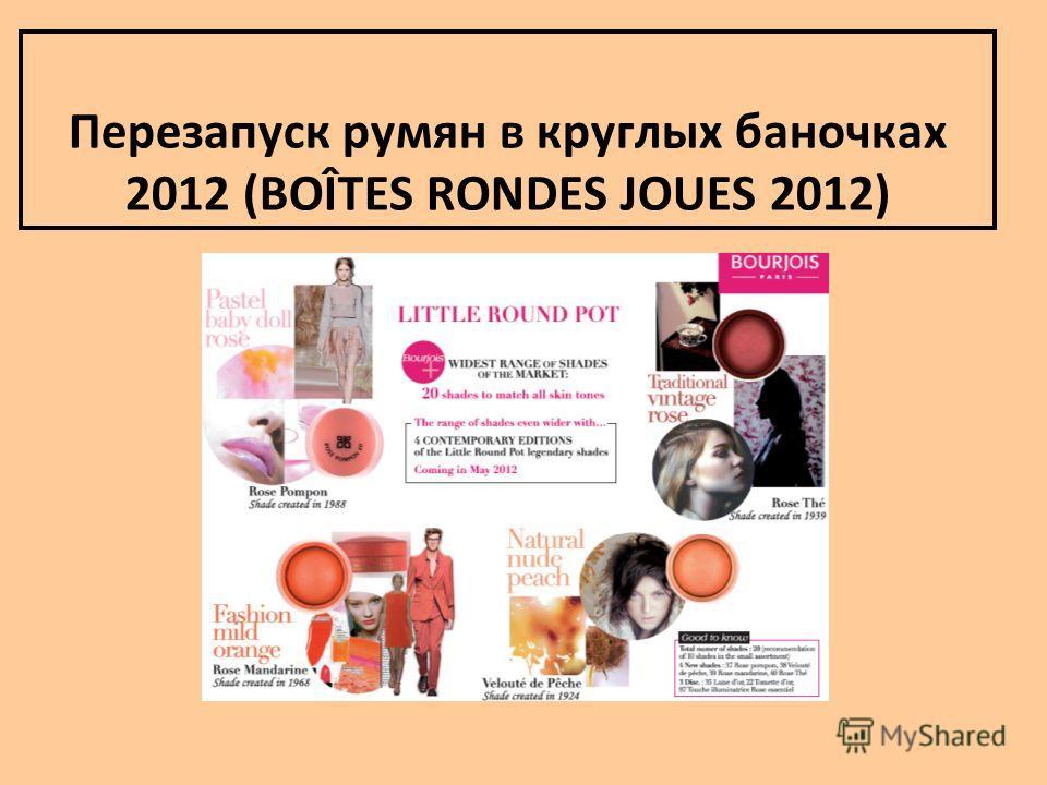 Перезапуск румян в круглых баночках 2012 (BOÎTES RONDES JOUES 2012)