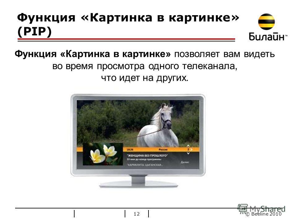 © Beeline 2010 Стандартные цвета Билайн Функция «Картинка в картинке» (PIP) 12 Функция «Картинка в картинке» позволяет вам видеть во время просмотра одного телеканала, что идет на других.