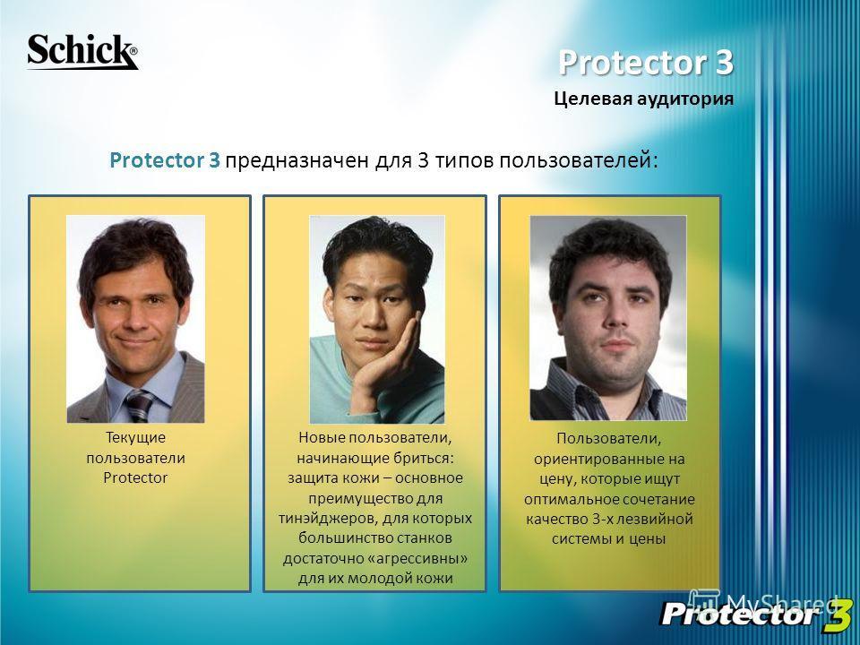 Protector 3 предназначен для 3 типов пользователей: Текущие пользователи Protector Пользователи, ориентированные на цену, которые ищут оптимальное сочетание качество 3-х лезвийной системы и цены Новые пользователи, начинающие бриться: защита кожи – о