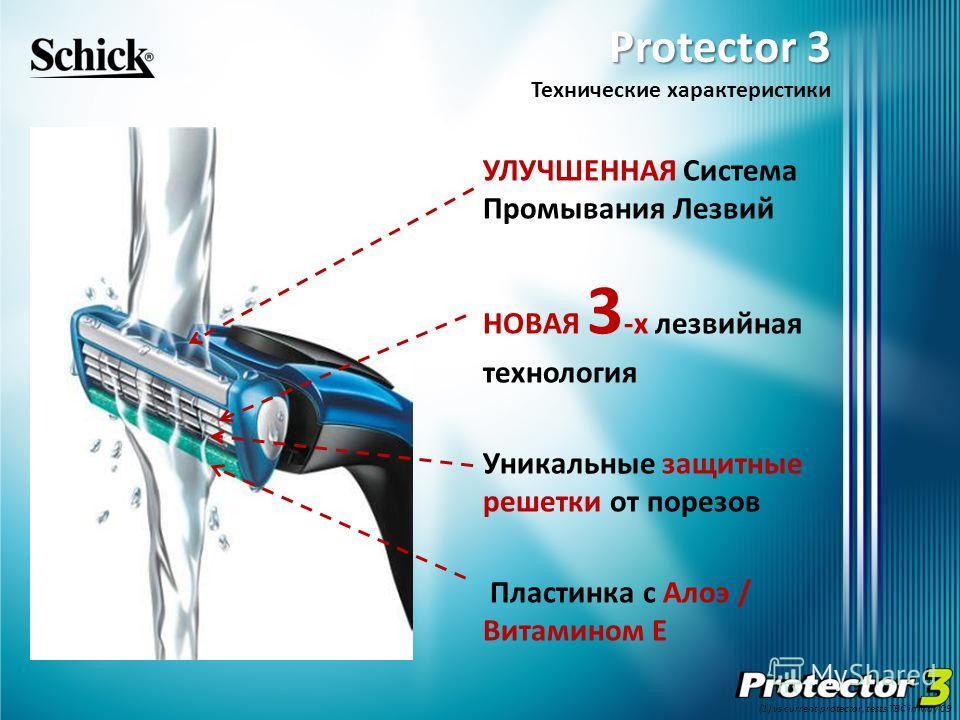 Protector 3 Protector 3 Технические характеристики УЛУЧШЕННАЯ Система Промывания Лезвий НОВАЯ 3 -х лезвийная технология Уникальные защитные решетки от порезов Пластинка с Алоэ / Витамином E (1) vs current protector, tests TBC in May 09