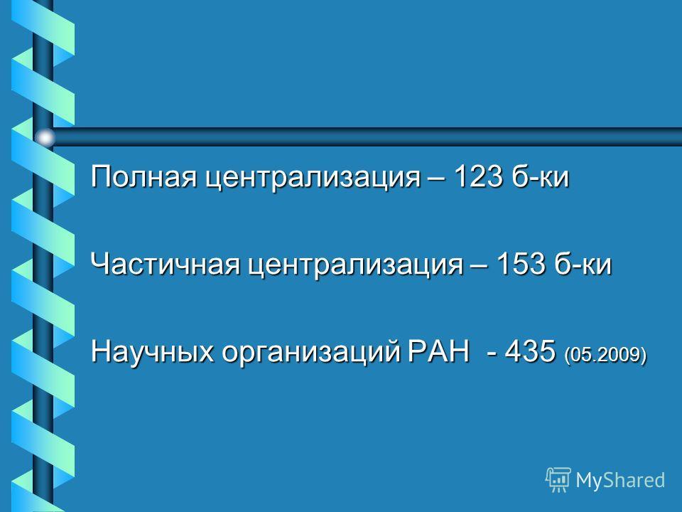 Полная централизация – 123 б-ки Частичная централизация – 153 б-ки Научных организаций РАН - 435 (05.2009)