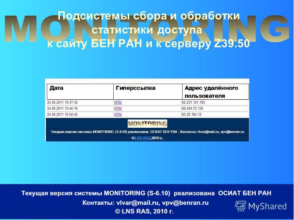 Подсистемы сбора и обработки статистики доступа к сайту БЕН РАН и к серверу Z39.50