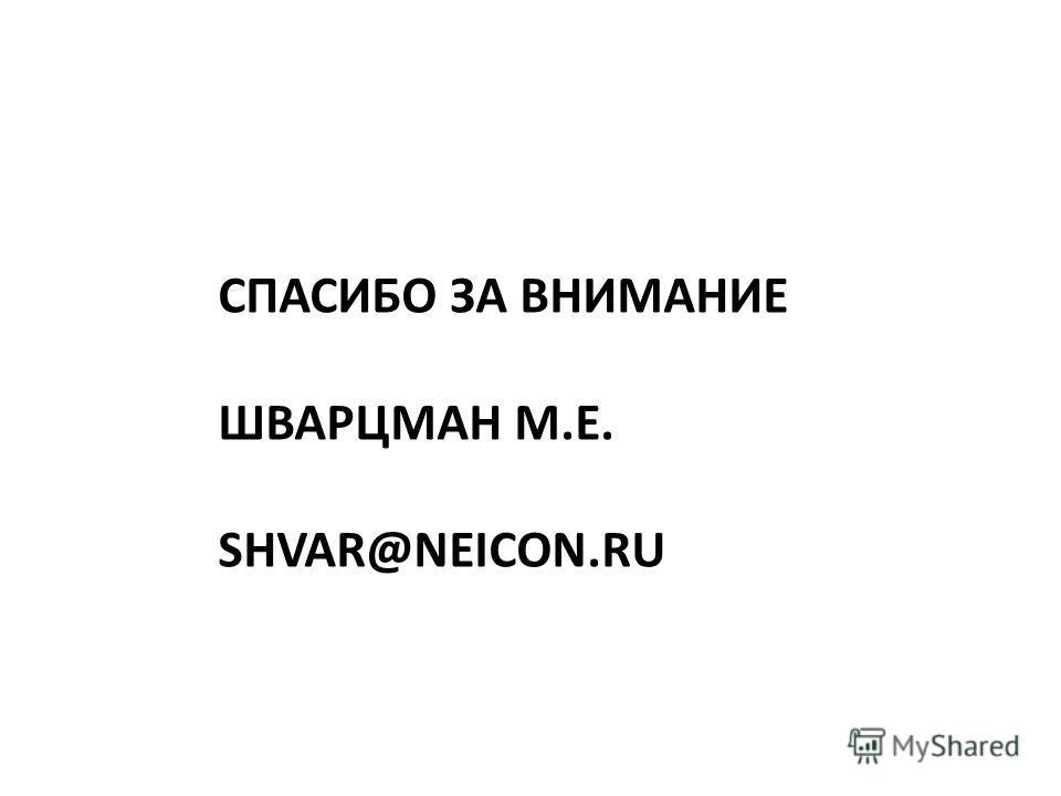 СПАСИБО ЗА ВНИМАНИЕ ШВАРЦМАН М.Е. SHVAR@NEICON.RU