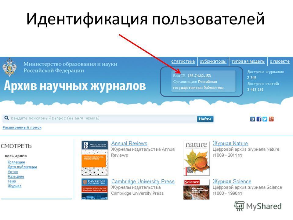 Идентификация пользователей