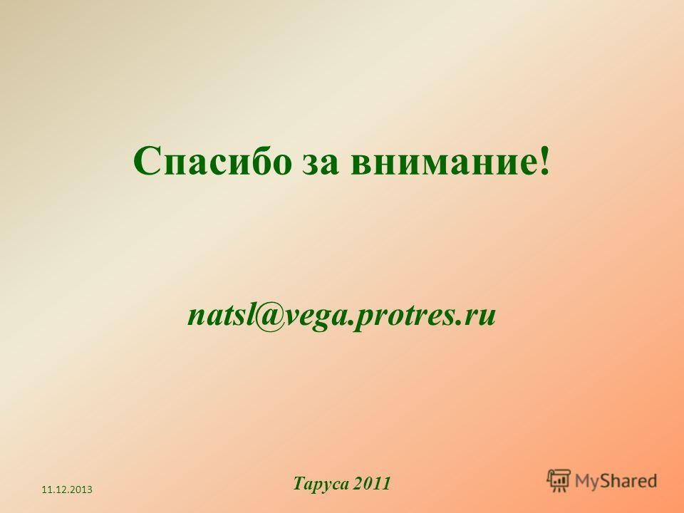 Спасибо за внимание! natsl@vega.protres.ru 11.12.2013 Таруса 2011