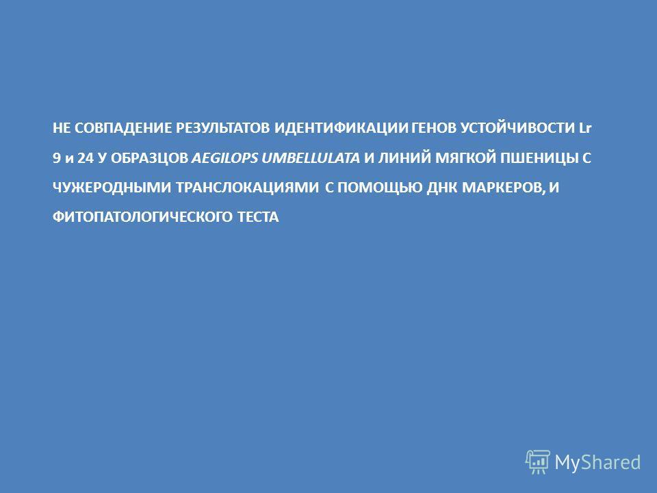 НЕ СОВПАДЕНИЕ РЕЗУЛЬТАТОВ ИДЕНТИФИКАЦИИ ГЕНОВ УСТОЙЧИВОСТИ Lr 9 и 24 У ОБРАЗЦОВ AEGILOPS UMBELLULATA И ЛИНИЙ МЯГКОЙ ПШЕНИЦЫ С ЧУЖЕРОДНЫМИ ТРАНСЛОКАЦИЯМИ С ПОМОЩЬЮ ДНК МАРКЕРОВ, И ФИТОПАТОЛОГИЧЕСКОГО ТЕСТА