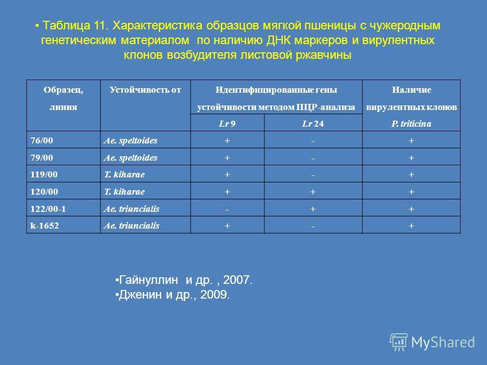 Образец, линия Устойчивость от Идентифицированные гены устойчивости методом ПЦР-анализа Наличие вирулентных клонов P. triticina Lr 9Lr 24 76/00Ae. speltoides+-+ 79/00Ae. speltoides+-+ 119/00T. kiharae+-+ 120/00T. kiharae+++ 122/00-1Ae. triuncialis-++