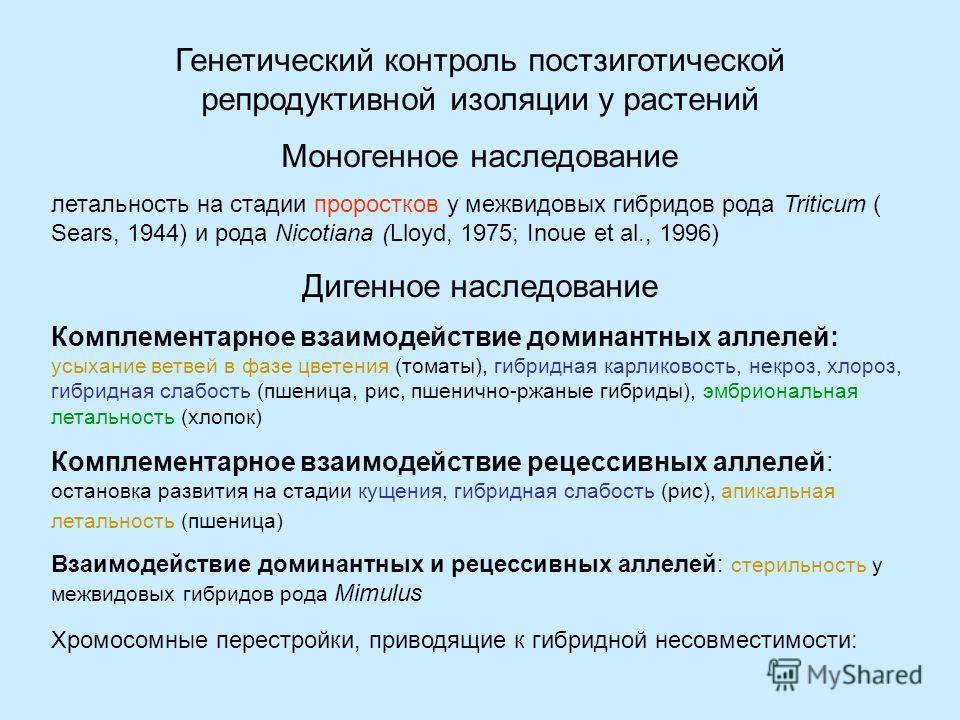 Г. Д. Карпеченко (1935) высказал предположение, что проявление несовместимости (инконгруентности) геномов у отдаленных гибридов, выражающееся в их гибели, может иметь простой генетический контроль. Спрашивается, не определяется ли инконгруентность ге