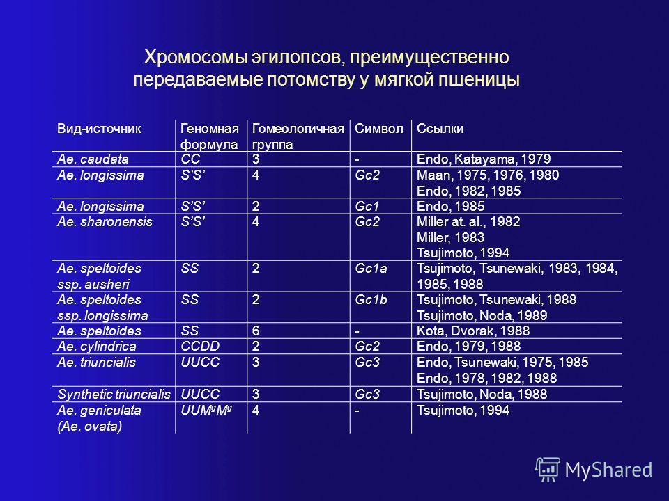Хромосомы эгилопсов, преимущественно передаваемые потомству у мягкой пшеницы Вид-источникГеномная формула Гомеологичная группа СимволСсылки Ae. caudataCC3-Endo, Katayama, 1979 Ae. longissimaSS4Gc2Maan, 1975, 1976, 1980 Endo, 1982, 1985 Ae. longissima