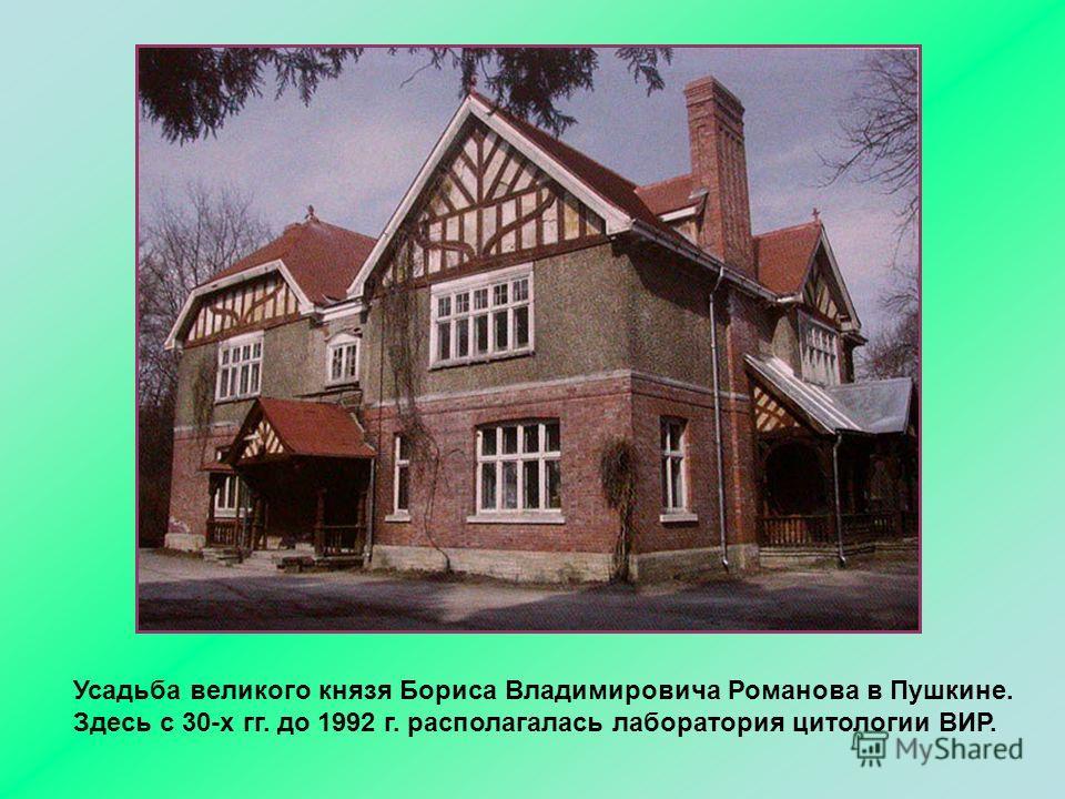 Усадьба великого князя Бориса Владимировича Романова в Пушкине. Здесь с 30-х гг. до 1992 г. располагалась лаборатория цитологии ВИР.