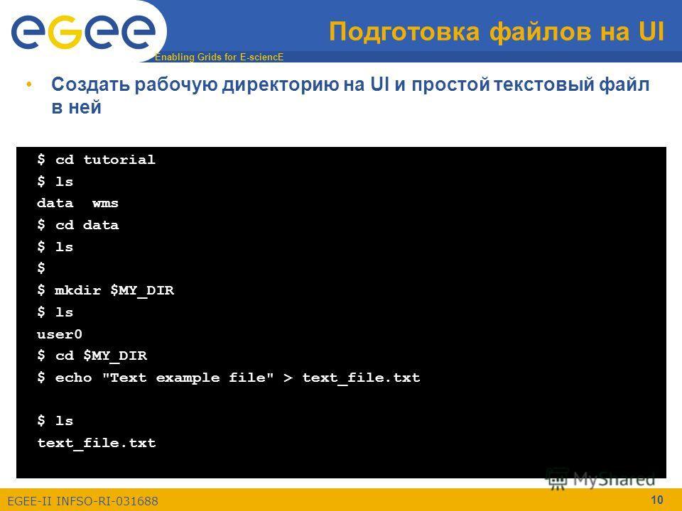 Enabling Grids for E-sciencE EGEE-II INFSO-RI-031688 10 Подготовка файлов на UI $ cd tutorial $ ls data wms $ cd data $ ls $ $ mkdir $MY_DIR $ ls user0 $ cd $MY_DIR $ echo