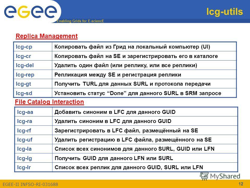 Enabling Grids for E-sciencE EGEE-II INFSO-RI-031688 12 lcg-utils lcg-cpКопировать файл из Грид на локальный компьютер (UI) lcg-crКопировать файл на SE и зарегистрировать его в каталоге lcg-delУдалить один файл (или реплику, или все реплики) lcg-repР