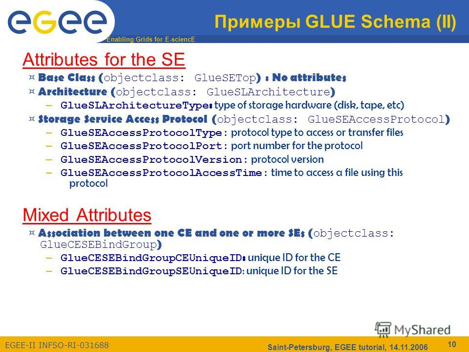Enabling Grids for E-sciencE EGEE-II INFSO-RI-031688 Saint-Petersburg, EGEE tutorial, 14.11.2006 10 Примеры GLUE Schema (II) Attributes for the SE ¤ Base Class ( objectclass: GlueSETop ) : No attributes ¤ Architecture ( objectclass: GlueSLArchitectur